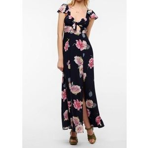 Floral maxi dress with cutouts